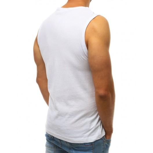 Moderné pánske tričko v bielej farbe s potlačou