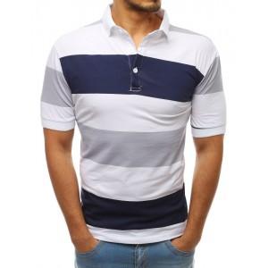 Moderné pánske biele pruhované polo tričko s krátkym rukávom