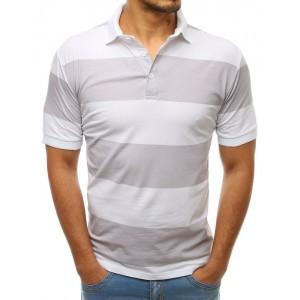 Štýlové pánske biele pruhované tričko s golierom a zapínaním na gombíky
