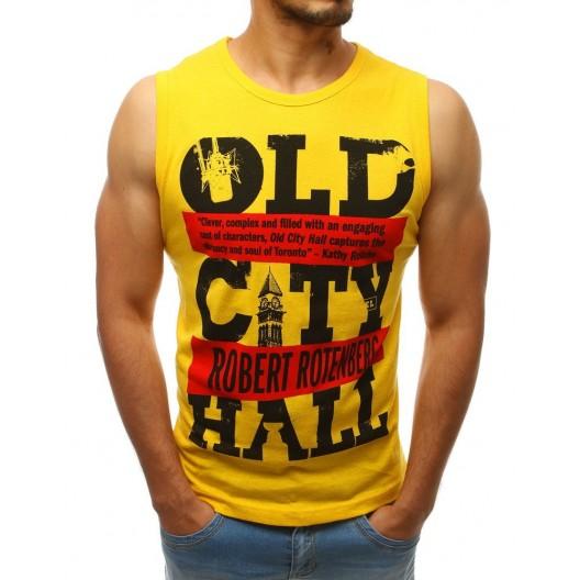 Žlté pánske moderné tričko bez rukávov