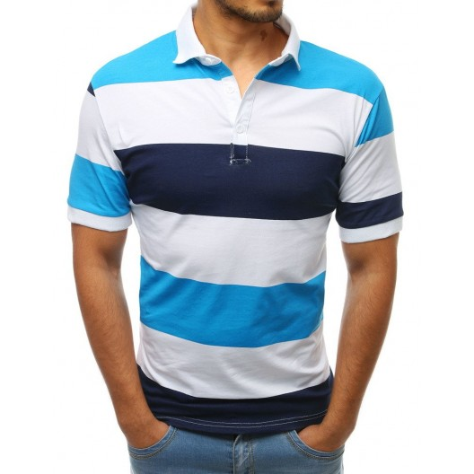 Krásne letné tričko pruhované v tyrkysovo bielej farbe s golierom