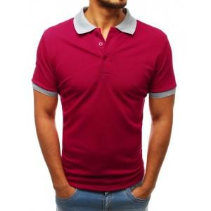 Originálne bordové pánske polo tričko s kontrastným sivým golierom