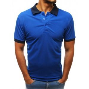 Pánske azúrovo modré polo tričko s tmavo modrým golierom