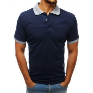 Tmavo modré pánske polo tričko s krátkym rukávom a sivým golierom