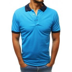 Kvalitné pánske polo tričko v krásnej tyrkysovej farbe s modrým golierom