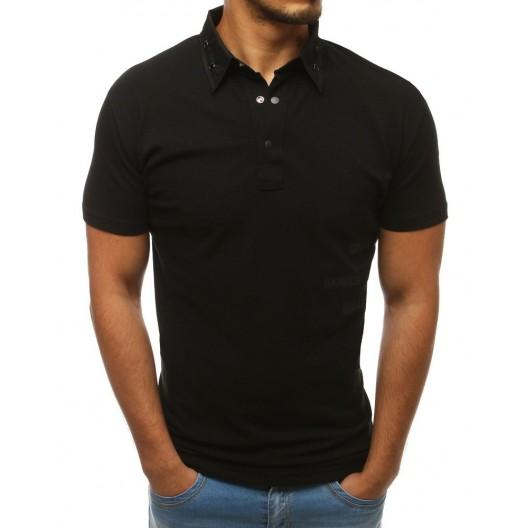 Čierna bavlnená pánska polokošeľa s vybíjaním na golieri