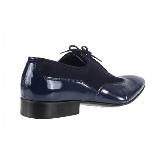 Spoločenské pánske kožené topánky v modrej farbe