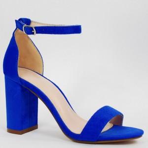 805df9496cb5b Krásne dámske modré sandále so zapínaním na pracku a módnom opätku