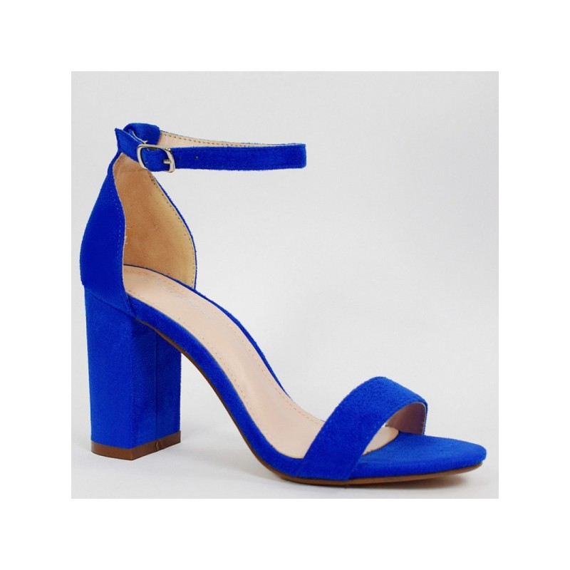 9578453f0c3d7 Kráľovsky modré dámske sandále na vysokom opätku s viazaním