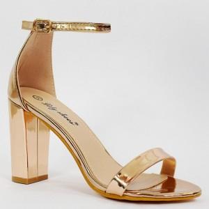Spoločenské zlaté dámske sandále na módnom vysokom opätku