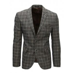 Elegantné pánske kockované sako v sivej farbe