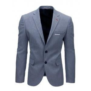 Modré pánske sako s pásikavým motívom