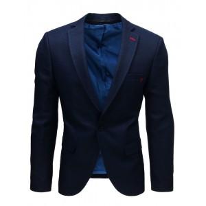 Jednoduché pánske sako v tmavomodrej farbe