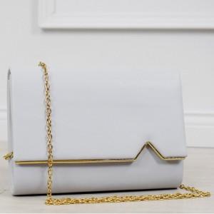 Spoločenská svetlo sivá listová dámska kabelka s odnímateľnou retiazkou