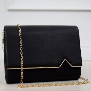 Luxusná dámska čierna listová kabelka na večer