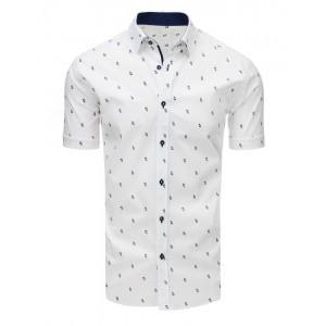 Biela pánska vzorovaná košeľa s krátkym rukávom
