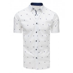 Vzorovaná pánska košeľa s krátkym rukávom bielej farby