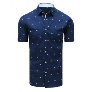 Vzorovaná tmavo modrá pánska košeľa s krátkym rukávom