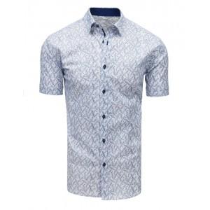 Biela košeľa s krátkym rukávom a modrým vzorom