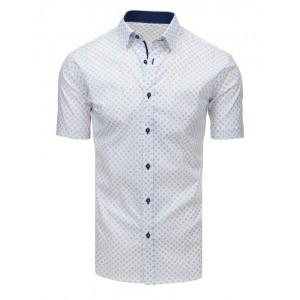 Pánska spoločenská košeľa s krátkym rukávom bielej farby