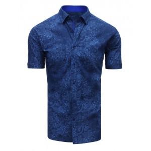 Moderná vzorovaná košeľa modrej farby s krátkym rukávom