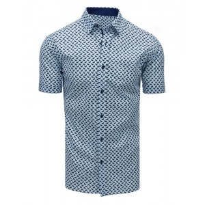 Pánska košeľa s krátkym rukávom a modrým vzorom