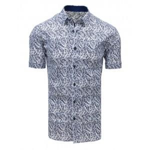 Biela letná pánska košeľa s modrým vzorom
