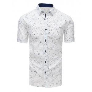 Bavlnená pánska slim fit košeľa s krátkym rukávom bielej farby