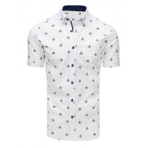Pánska spoločenská košeľa bielej farby s elegantným motívom