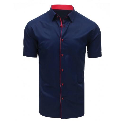 Elegantná pánska košeľa s krátkym rukávom tmavo modrej farby