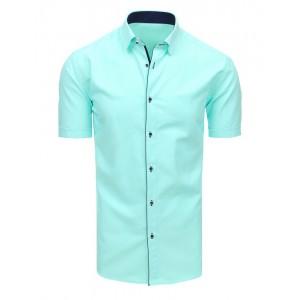 Exkluzívna pánska košeľa s krátkym rukávom v mätovej zelenej farbe