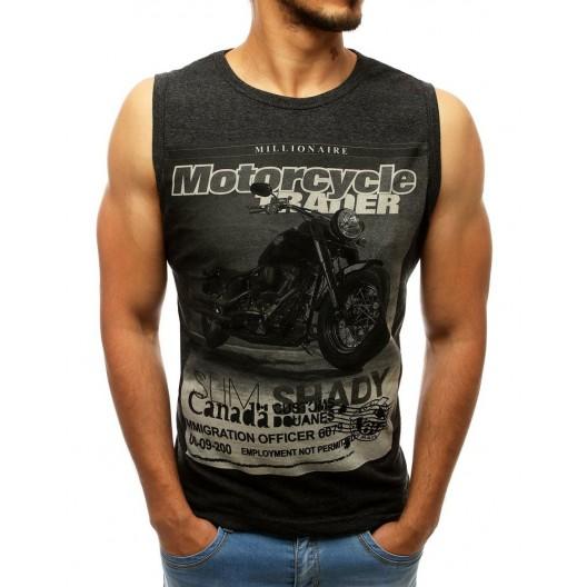 Čierne pánske letné tričko bez rukávov s potlačou motorky