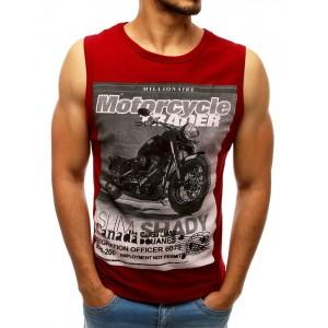 Červené pánske tričko bez rukávov s potlačou motorky