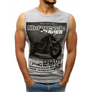 Pánske tričko bez rukávov v sivej farbe s potlačou