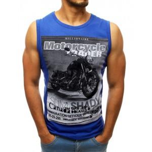 Letné pánske tričko modrej farby bez rukávov s potlačou