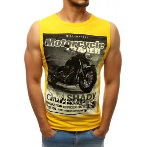 Motorkárske pánske tričko bez rukávov vo výraznej žltej farbe