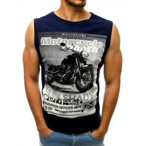 Tmavo modré pánske tričko bez rukávov s potlačou a nápismi