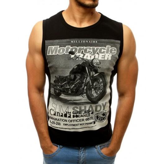 Motorkárske čierne tričko bez rukávou s potlačou motorky