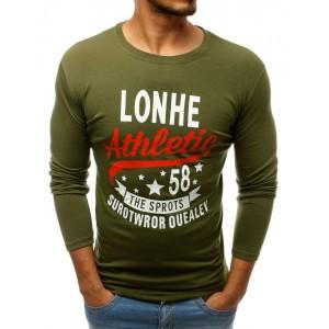 Štýlové pánske tričko s dlhým rukávom zelenej farby