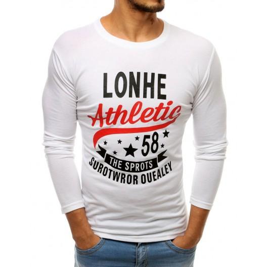 Trendové pánske tričko bielej farby s nápisom