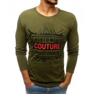 Pánske tričko s dlhým rukávom zelenej farby