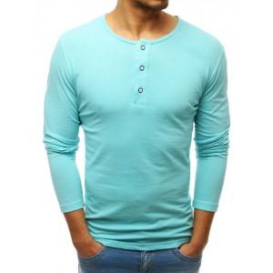 Elastické pánske tričko s dlhým rukávom mätovo zelenej farby