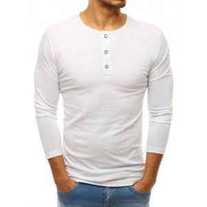 Biele bavlnené tričko s dlhým rukávom pre pánov