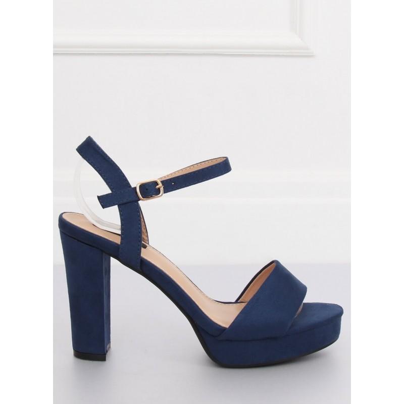 539744728f5e5 Tmavo modré semišové sandále na vysokom opätku