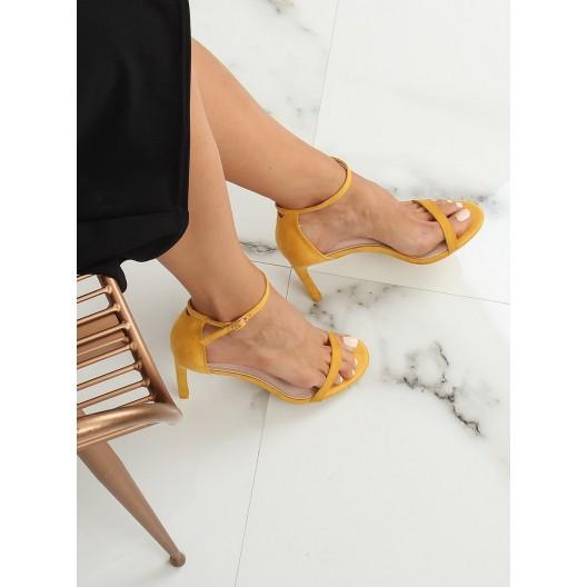 Dámske sandále na štíhlom podpätku žltej farby