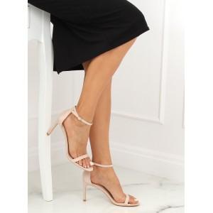 Vysoké dámske remienkové sandále v béžovej farbe