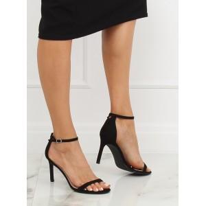 Čierne elegantné sandále na vysokom podpätku