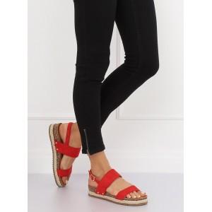 Pohodlné dámske sandále červenej farby na korkovej podrážke