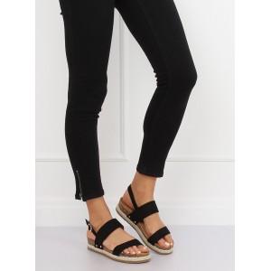Čierne dámske sandále na hrubej korkovej podrážke