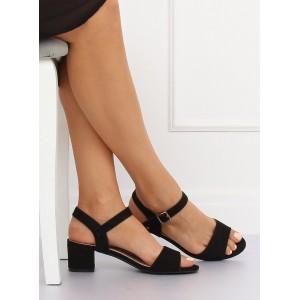 Pohodlné sandály čiernej farby na nízkom hrubom podpätku